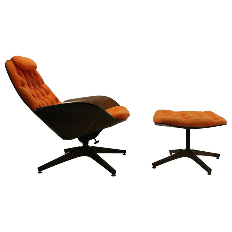 Mulhauser for Plycraft Mr. Chair and Ottoman For Sale
