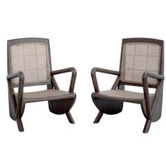 Mulholland Caned Chairs in Stone Grey
