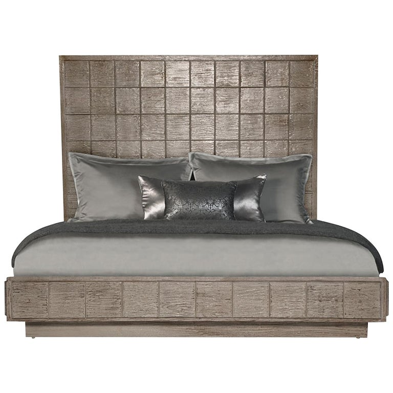 Mulholland King Bed in Lacquered Fog Gray by Badgley Mischka Home 1