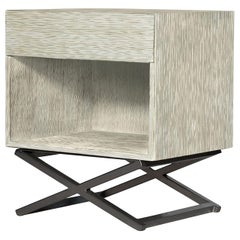 Mulholland Nightstand in Aged Silver and Natural Metal by Badgley Mischka Home