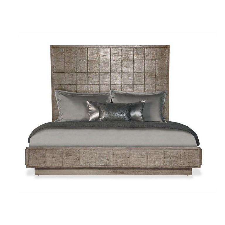 Mulholland Queen Bed in Lacquered Fog Gray by Badgley Mischka Home 2