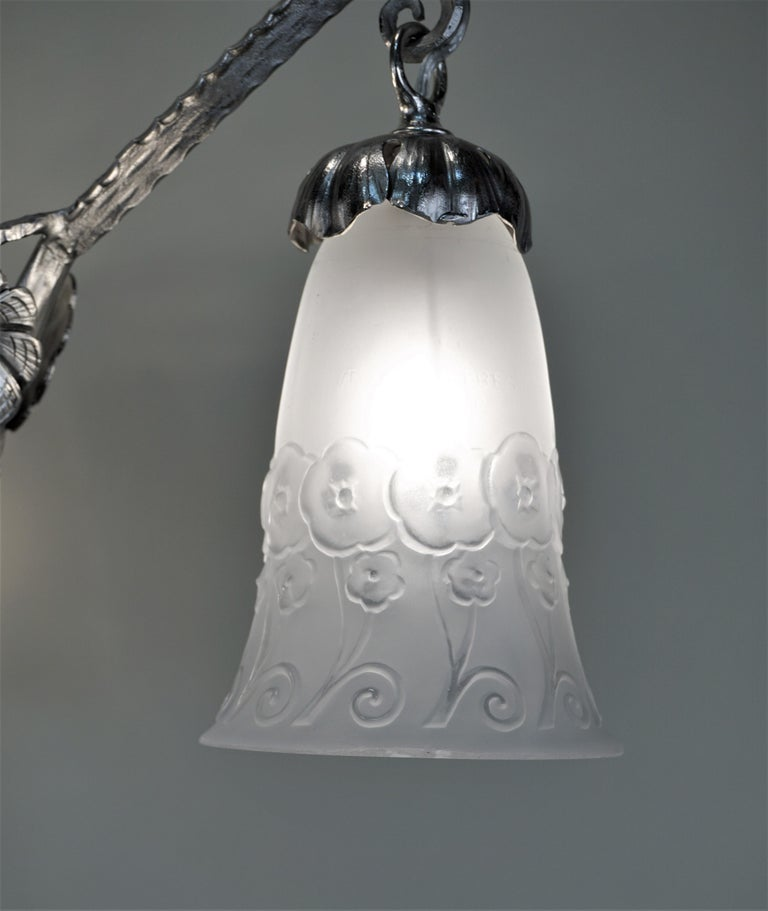 French Muller Freres 1920s Art Deco Chandelier For Sale