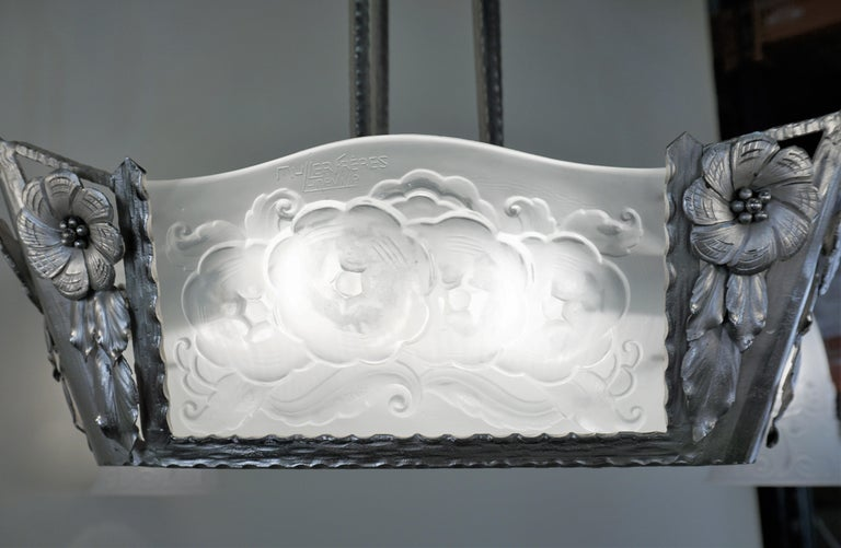 Plated Muller Freres 1920s Art Deco Chandelier For Sale