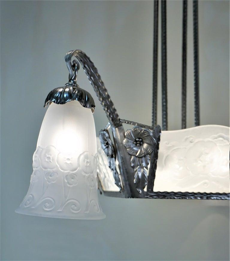 Muller Freres 1920s Art Deco Chandelier For Sale 2