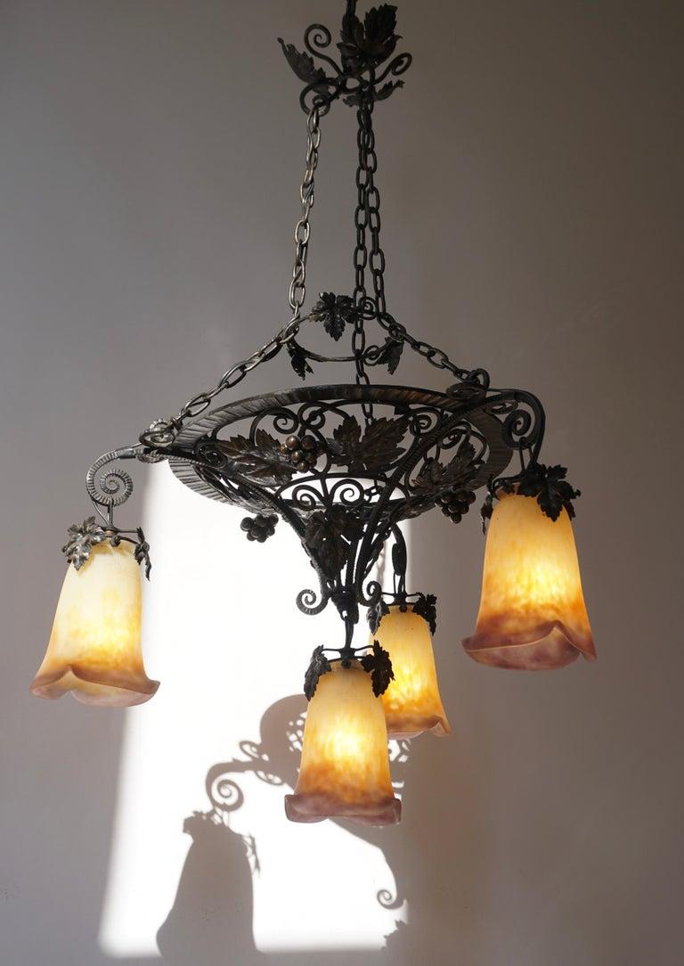 Muller Freres Art Deco Four-Light Chandelier For Sale 5