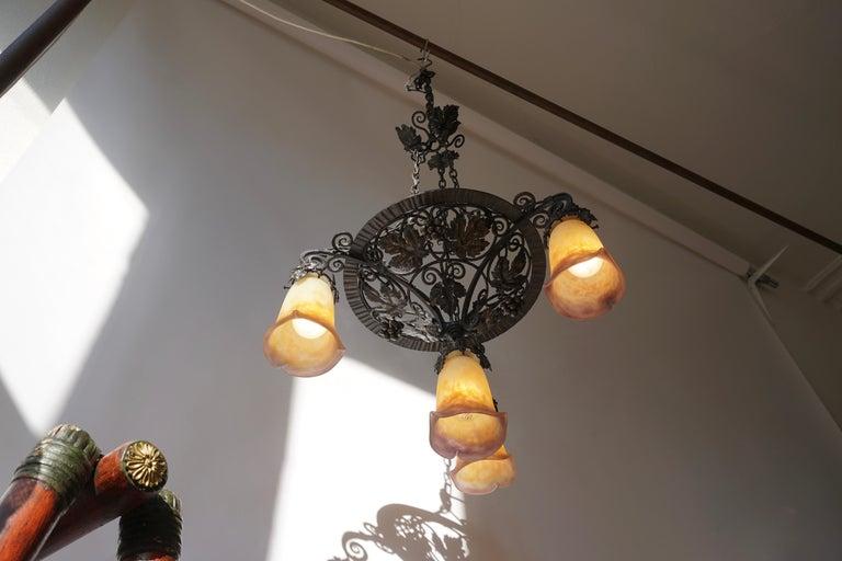 Muller Freres Art Deco Four-Light Chandelier For Sale 6