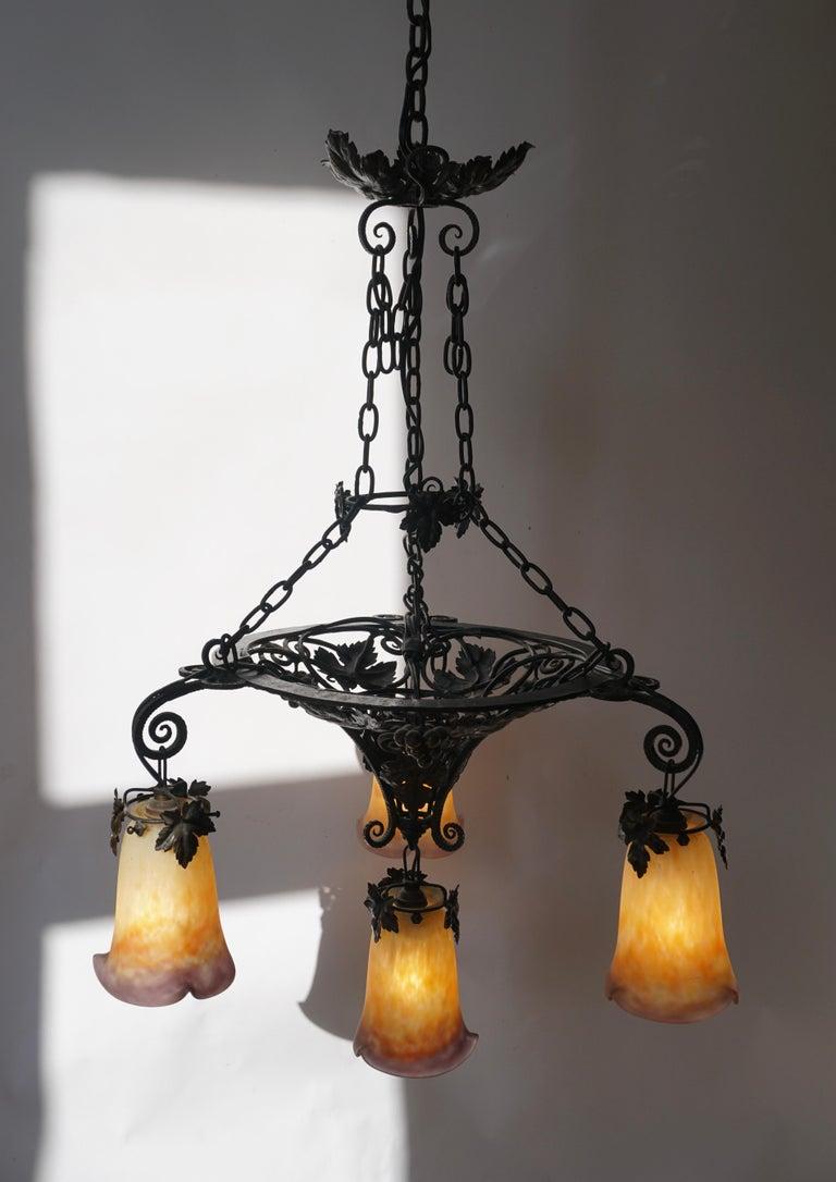 20th Century Muller Freres Art Deco Four-Light Chandelier For Sale
