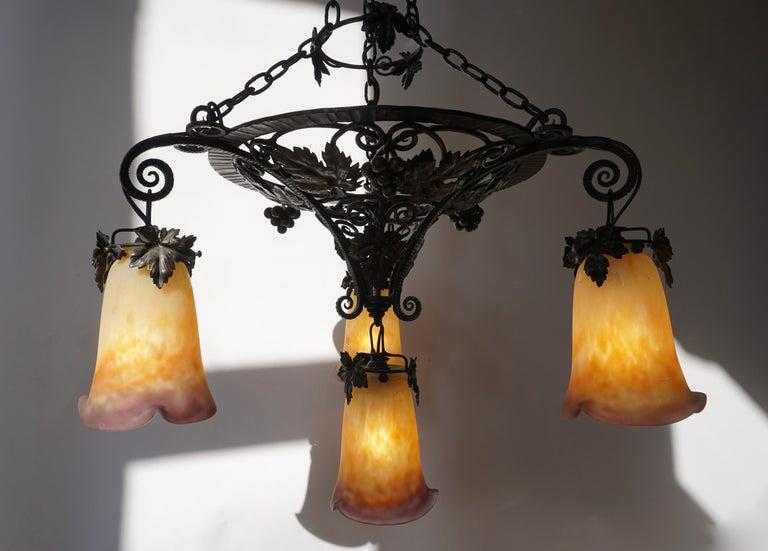 Glass Muller Freres Art Deco Four-Light Chandelier For Sale