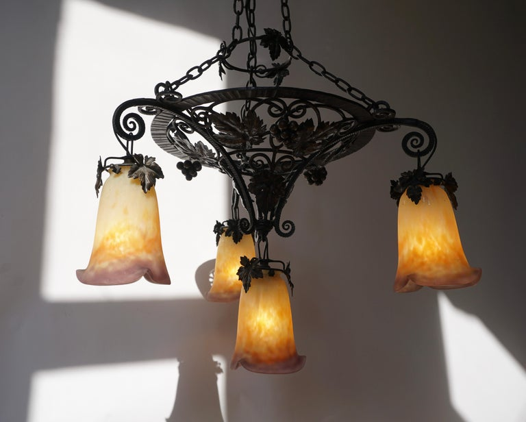 Muller Freres Art Deco Four-Light Chandelier For Sale 1