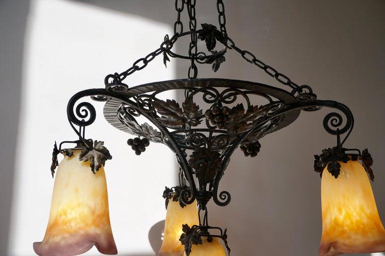 Muller Freres Art Deco Four-Light Chandelier For Sale 2