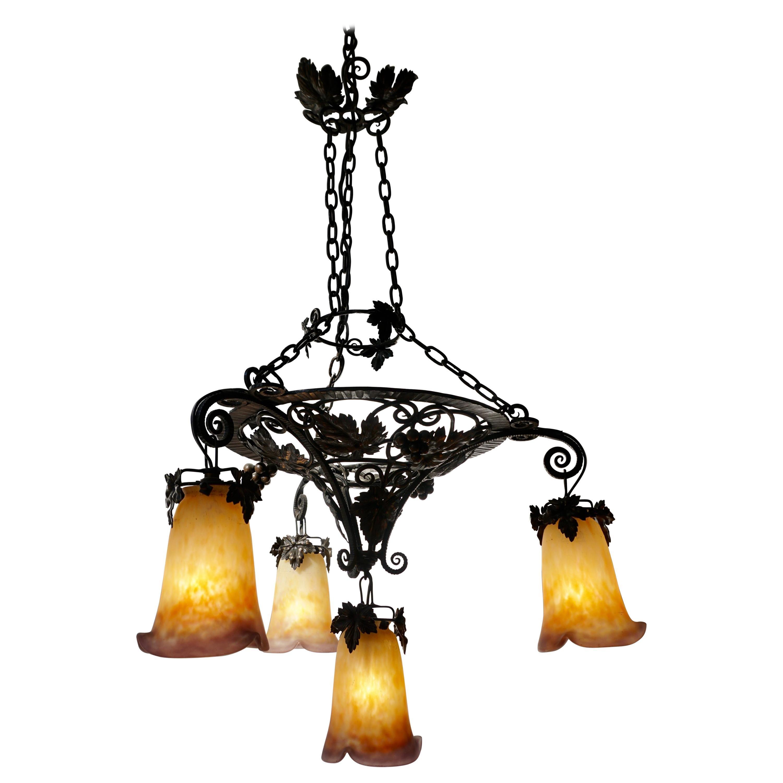 Muller Freres Art Deco Four-Light Chandelier