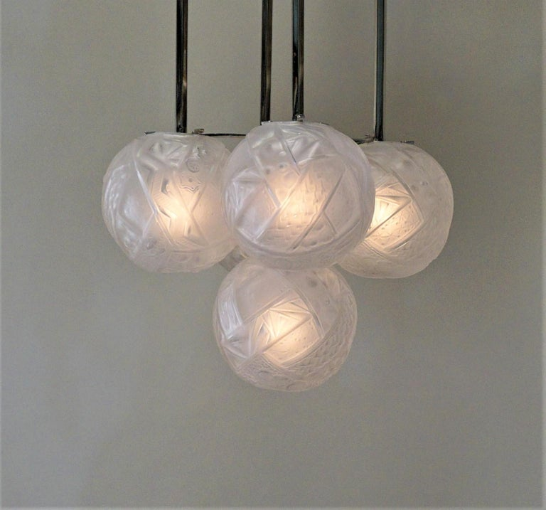 Five clear frost with high light posh globs nickel on bronze frame Art Deco chandelier.