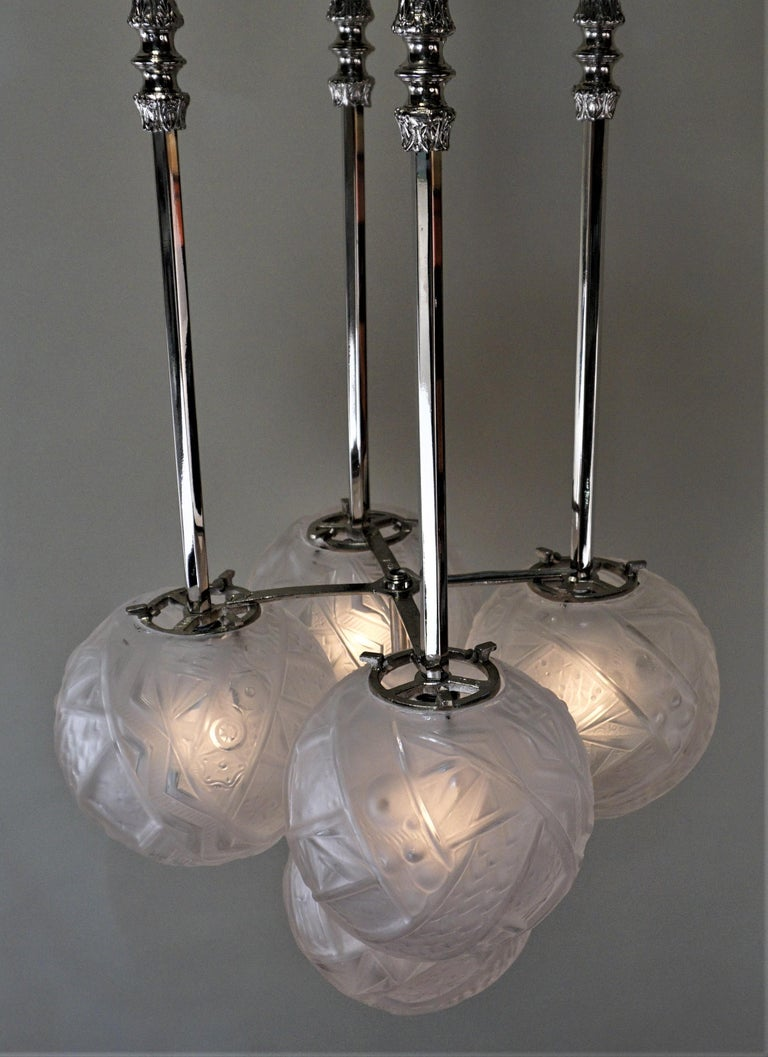 Muller Frères Art Deco Glass and Nickel Chandelier 2
