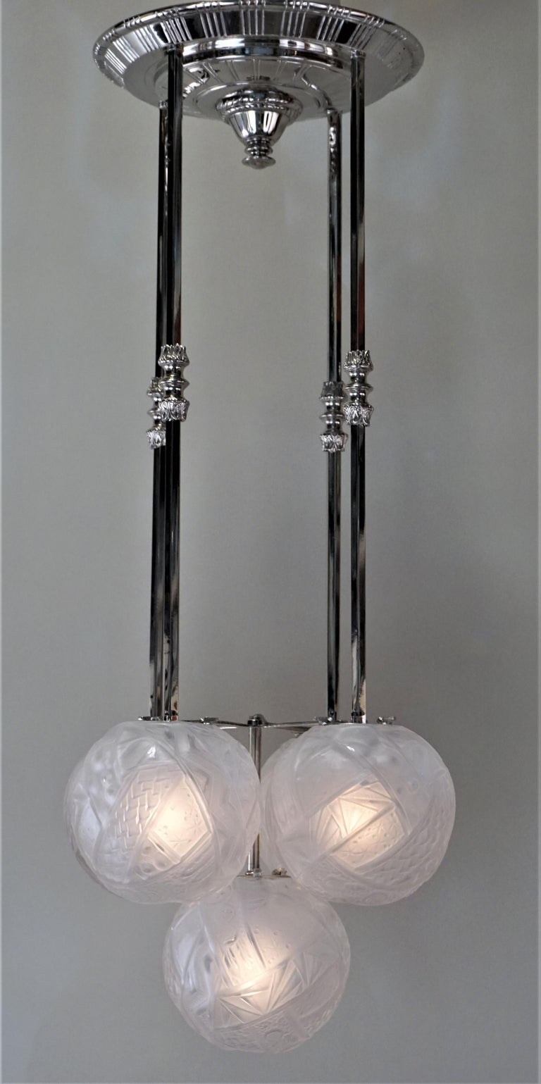 Muller Frères Art Deco Glass and Nickel Chandelier 3