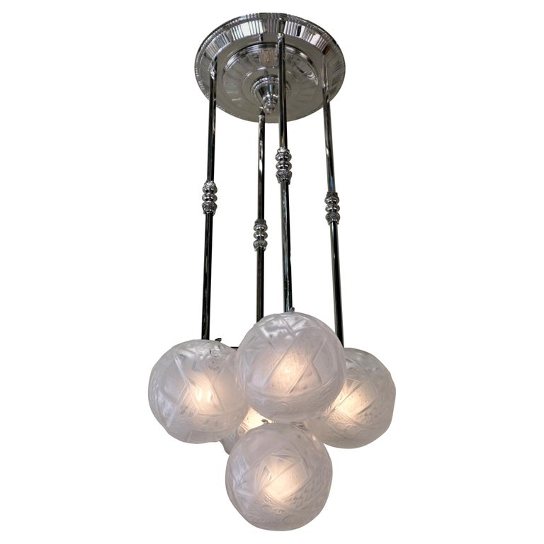 Muller Frères Art Deco Glass and Nickel Chandelier