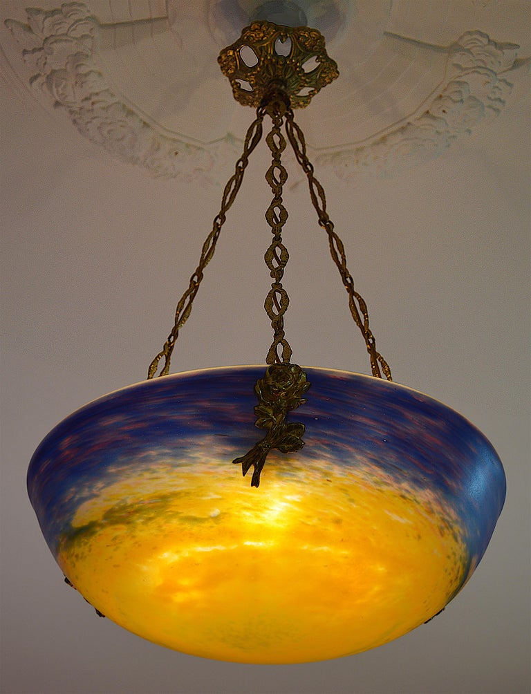 Bronze Muller Freres / Charles Ranc Wide French Art Deco Pendant Chandelier, Early 1920 For Sale