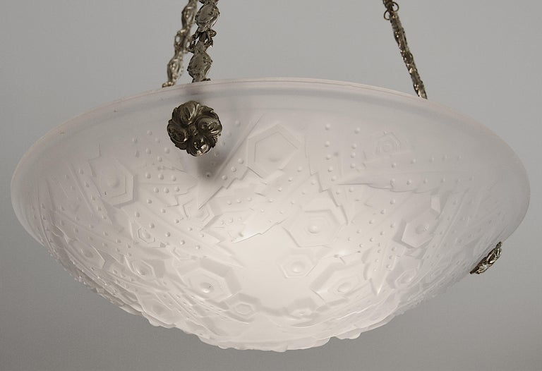Muller Freres French Art Deco Pendant Chandelier, 1920s In Good Condition For Sale In Saint-Amans-des-Cots, FR