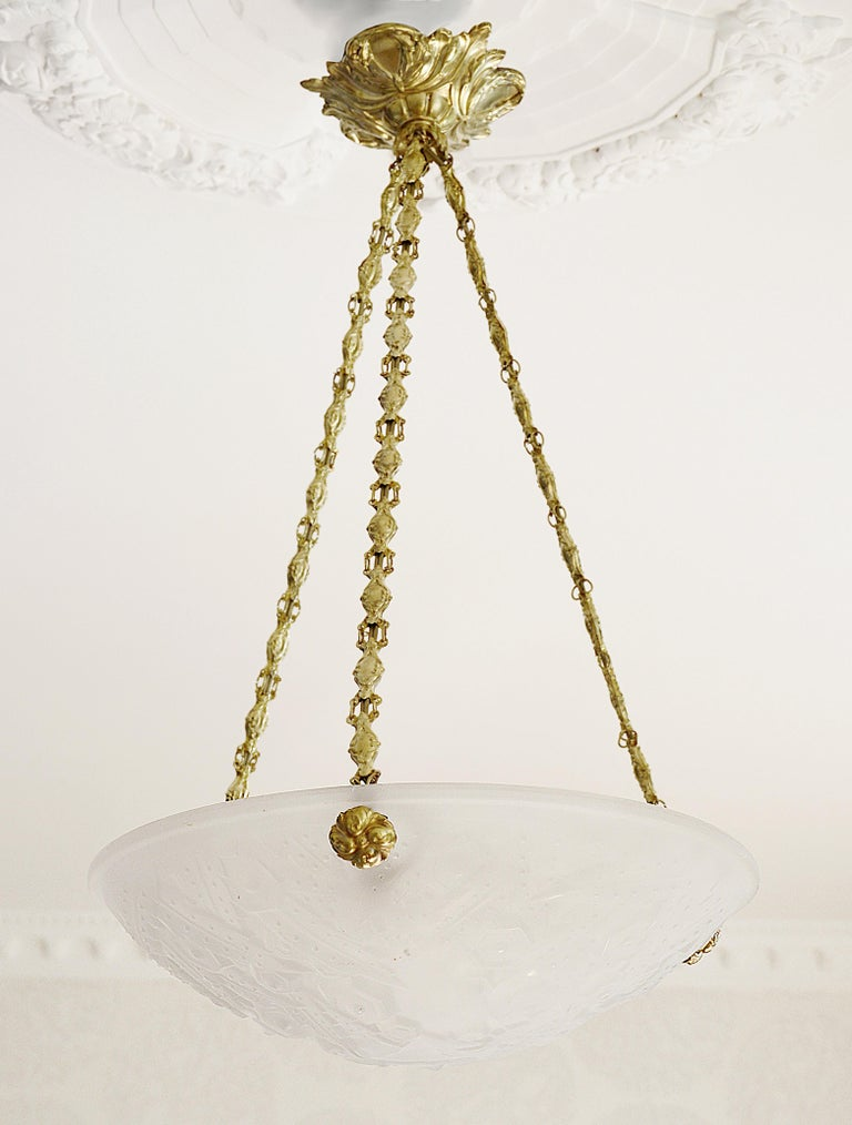 Early 20th Century Muller Freres French Art Deco Pendant Chandelier, 1920s For Sale