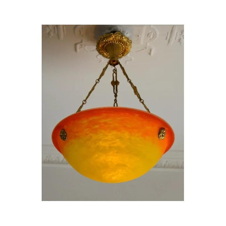 French Art Deco chandelier by Muller Frères (Luneville), France, 1920s. Mottled blown double glass shade. Rare colors: yellow and orange. Sunrise pattern. Gorgeous and genuine solid bronze fixture. Signed
