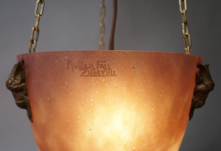Muller Freres Mottled Glass and Bronze Art Deco Pendant Chandelier, France For Sale 4