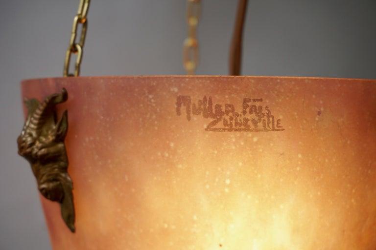 Muller Freres Mottled Glass and Bronze Art Deco Pendant Chandelier, France For Sale 7
