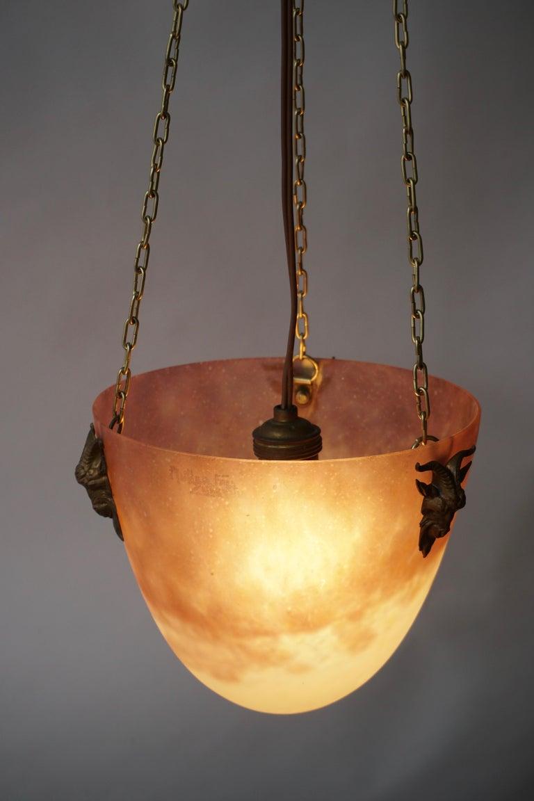 Muller Freres Mottled Glass and Bronze Art Deco Pendant Chandelier, France For Sale 8