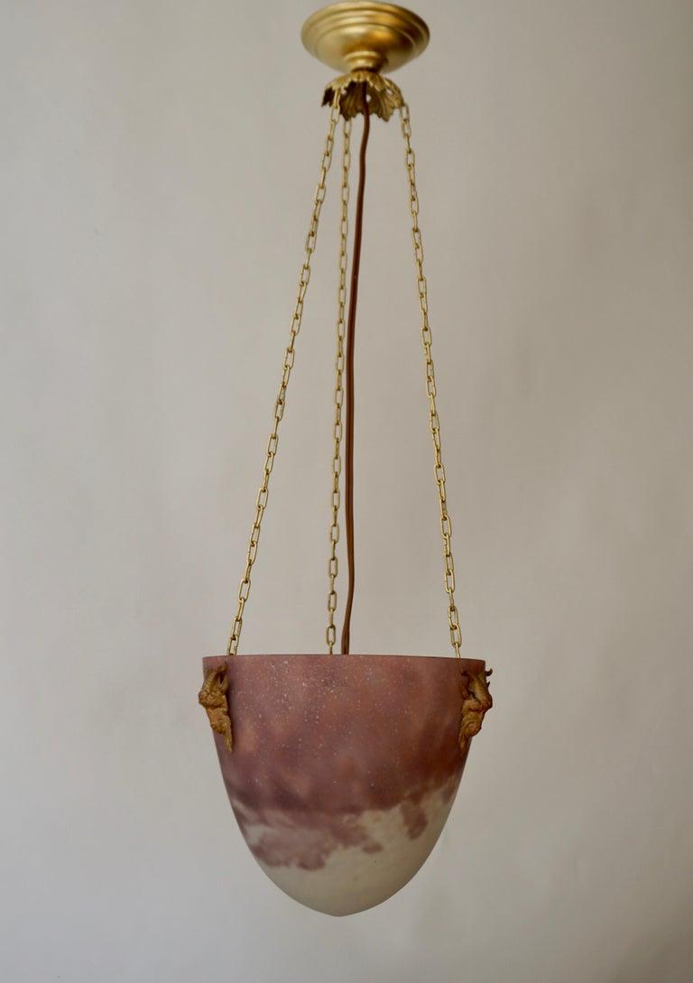 French Muller Freres Mottled Glass and Bronze Art Deco Pendant Chandelier, France For Sale