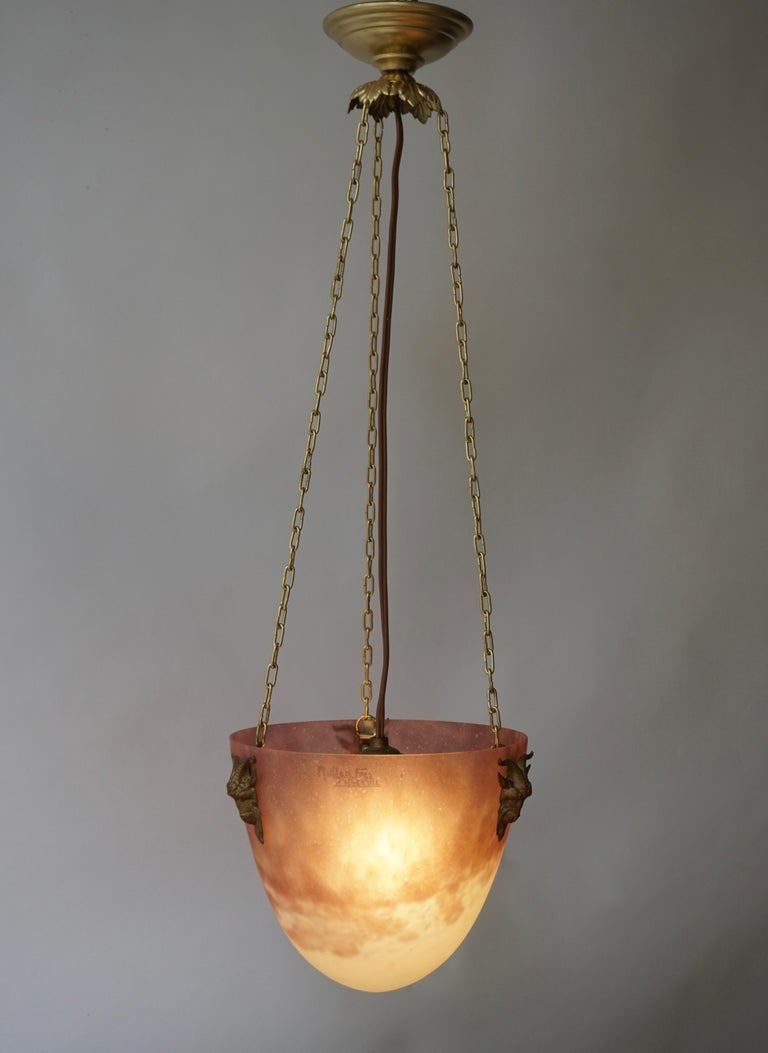 Muller Freres Mottled Glass and Bronze Art Deco Pendant Chandelier, France In Good Condition For Sale In Antwerp, BE