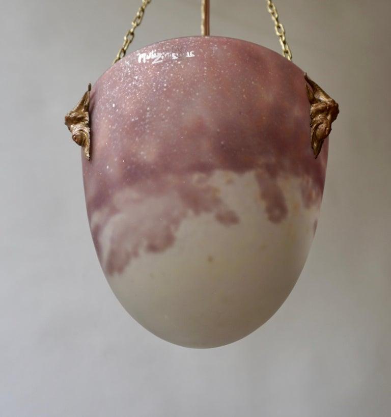 Muller Freres Mottled Glass and Bronze Art Deco Pendant Chandelier, France For Sale 1