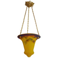 Muller Frères Stunning French Art Deco Pendant Chandelier, 1920s