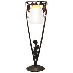 Müller Frères Table Lamp Glass Wrought Iron, 1930, France