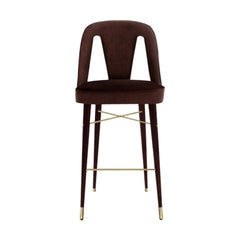 Mulligan Bar Chair with Polished Brass