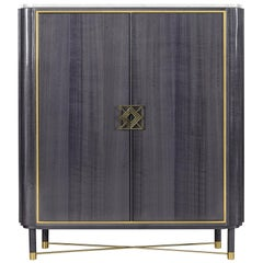 Mulligan Cabinet with Marble and Polished Brass Details