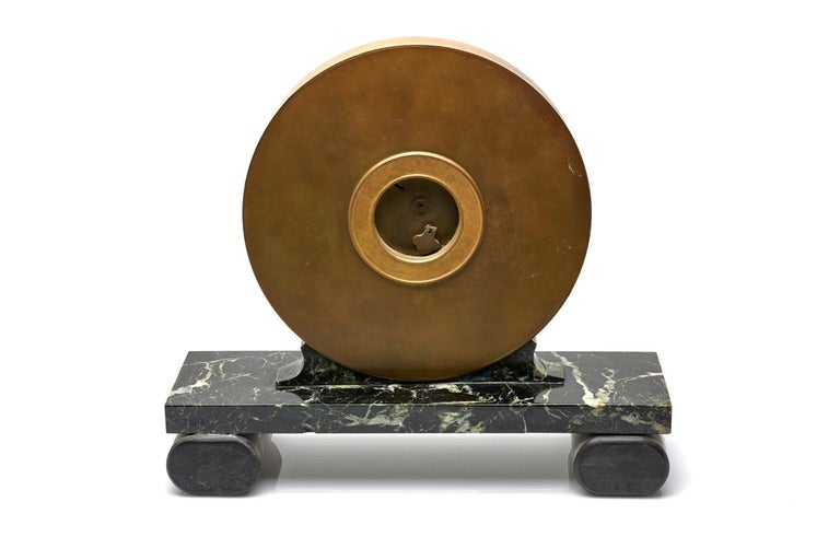 Modern Mully & Rose Large Marble Mantle Clock For Sale