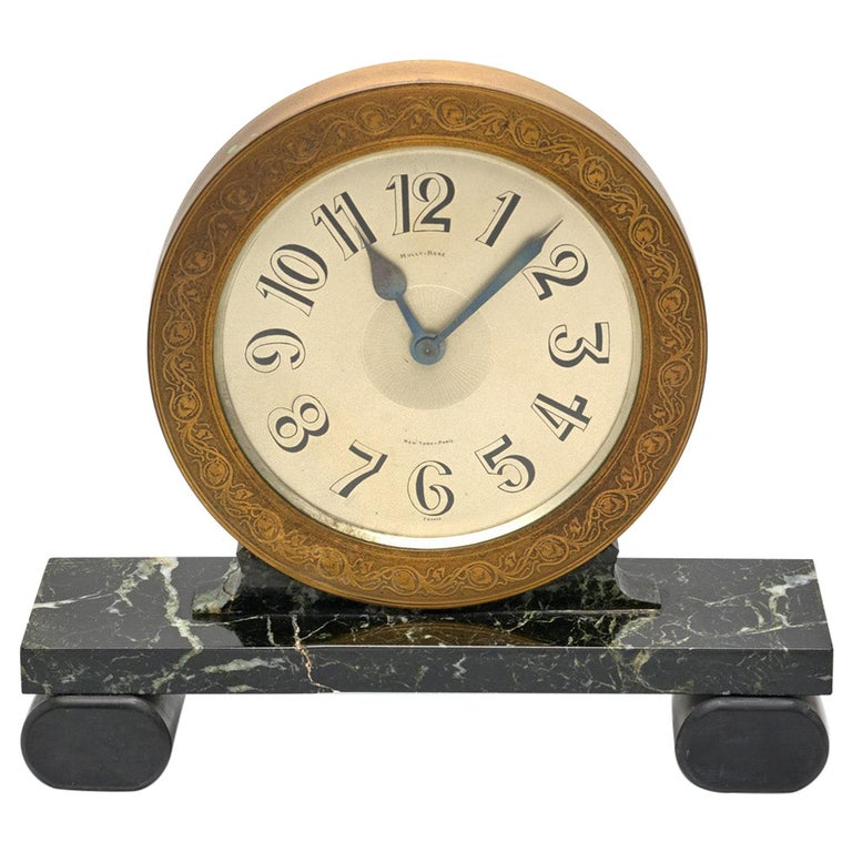 Mully & Rose Large Marble Mantle Clock For Sale