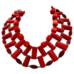 Multi /3 strand ,red ,extravagant ,Coral  Statement Necklace,  by SylviaGottwald