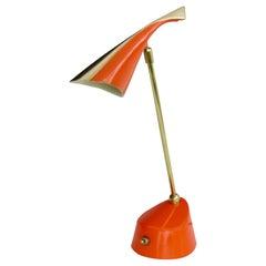 Multi Adjustable Wall or Desk Lamp by Laurel in Excellent Original Orange Paint