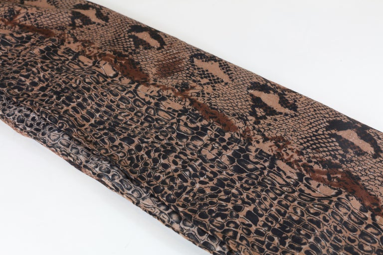 Multi Animal Print Scarf with Frayed Trim Brown, Black, Polyester  72