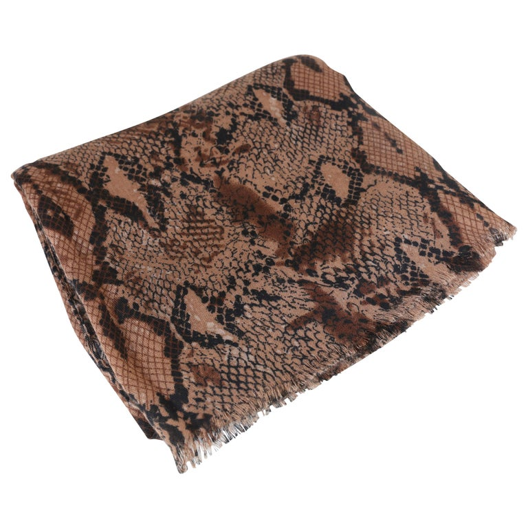 Multi Animal Print Scarf with Frayed Trim For Sale