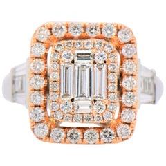 Multi-Baguette Diamond Double Frame Ring in 18 Karat White and Rose Gold