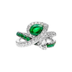 Multi Band 18kt White Gold Ring w/ Pear-Shaped Emerald and Heart-Shaped Diamond