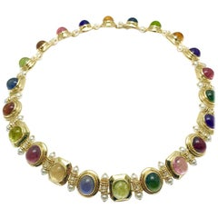 Multi Cabochon Gemstone Pearl and Diamond 18 Karat Yellow Gold Necklace