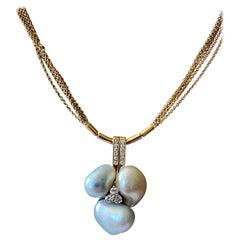 Multi Chain Necklace with Pendant with Diamonds and Baroque Pearls Signed Binder