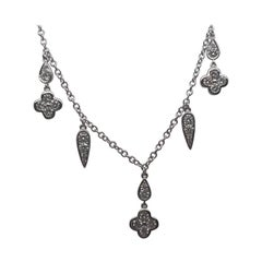 Multi Charm White Gold Necklace