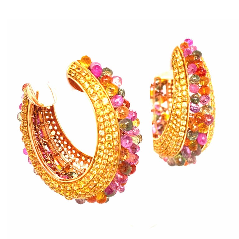Contemporary Multi-Color Briolette Sapphire 18 Karat Yellow Gold Wide Hoop Earrings For Sale