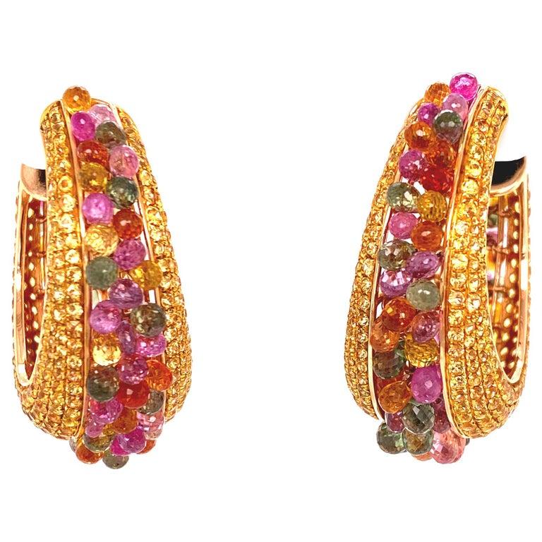 Multi-Color Briolette Sapphire 18 Karat Yellow Gold Wide Hoop Earrings For Sale