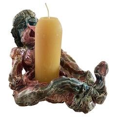 Multi Color Ceramic Figurine Candle Holder, 21st Century by Mattia Biagi
