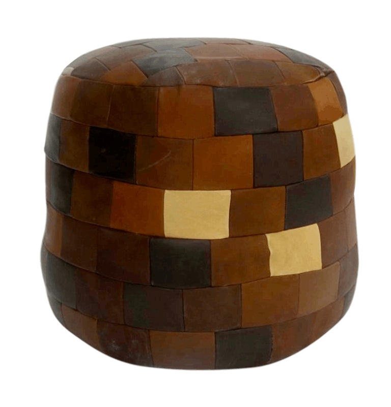 Multi-Color De Sede Patchwork Leather Ottoman In Good Condition For Sale In Los Angeles, CA