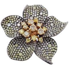 Multi-Color Diamond Gold Flower Ring