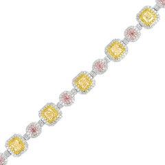 Multi-Color Diamond Halo Ladies Bracelet